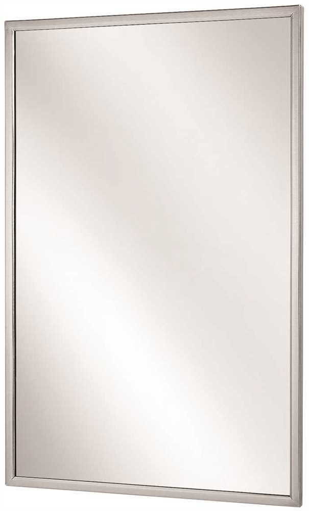 BRADLEY CHANNEL FRAME MIRROR, STAINLESS STEEL, 18X36 IN.