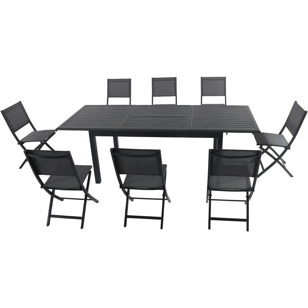"Cameron9pc: 8 Aluminum Sling Folding Chairs, 63-94"" Alum Extension Table"