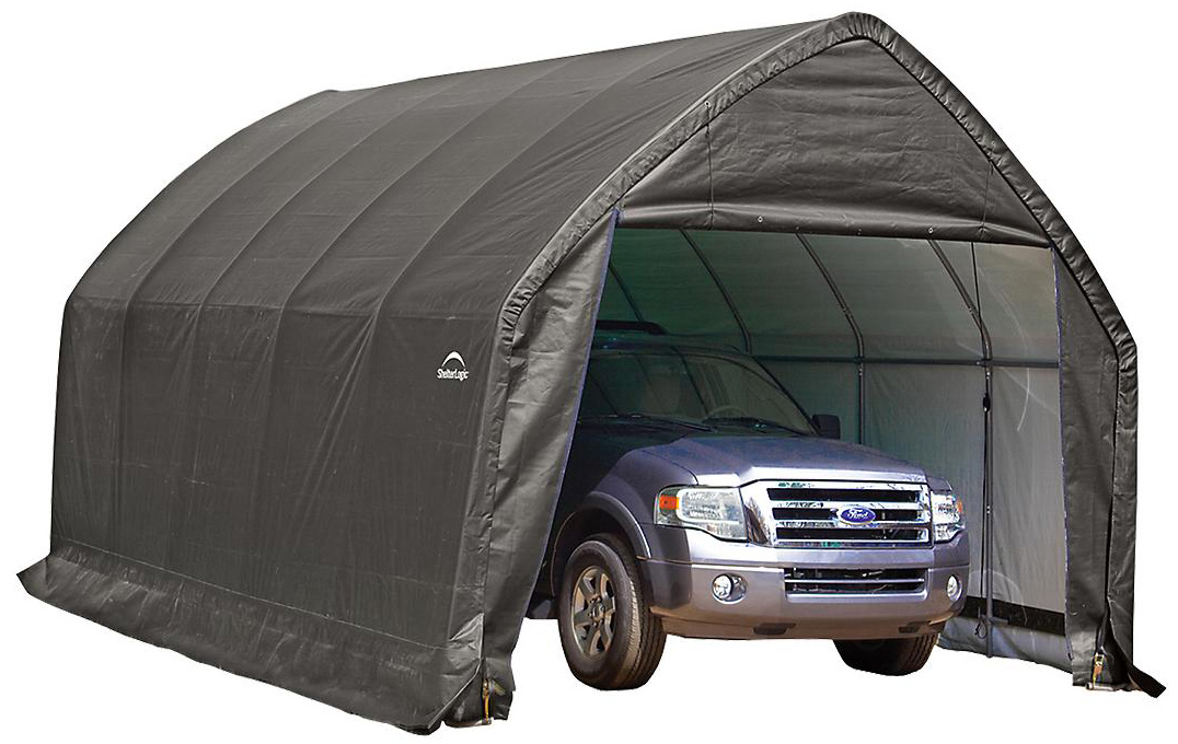 "SUV/Truck Shelter, 13'x20'x12',1-3/8"" 6-Rib Frame, Grey Cover"