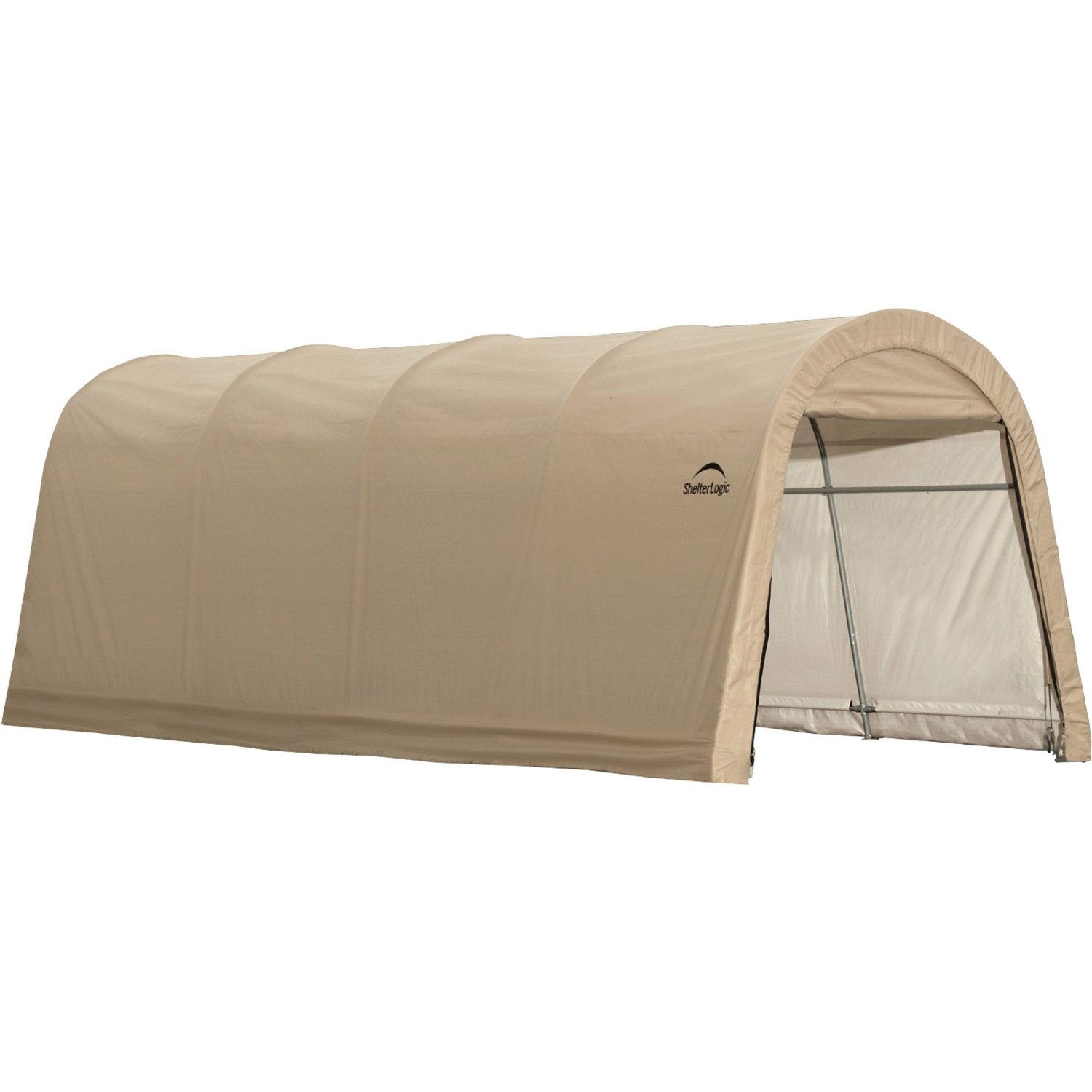 "Round Style Auto Shelter, 10'x20'x8', 1-3/8"" 5-Rib Frame, Tan Cover"