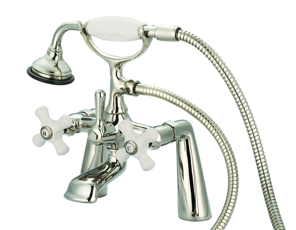 "7"" Spread Deck Mount Tub Faucet With Handheld Shower, Polished Nickel PVD Finish"