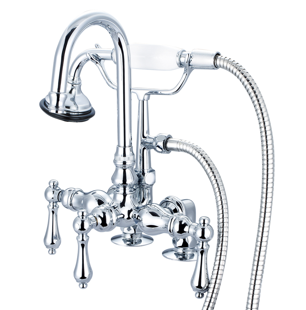 "3-3/8"" Center Deck Mount Tub Faucet With Gooseneck Spout, 2"" Risers & Handheld Shower,"