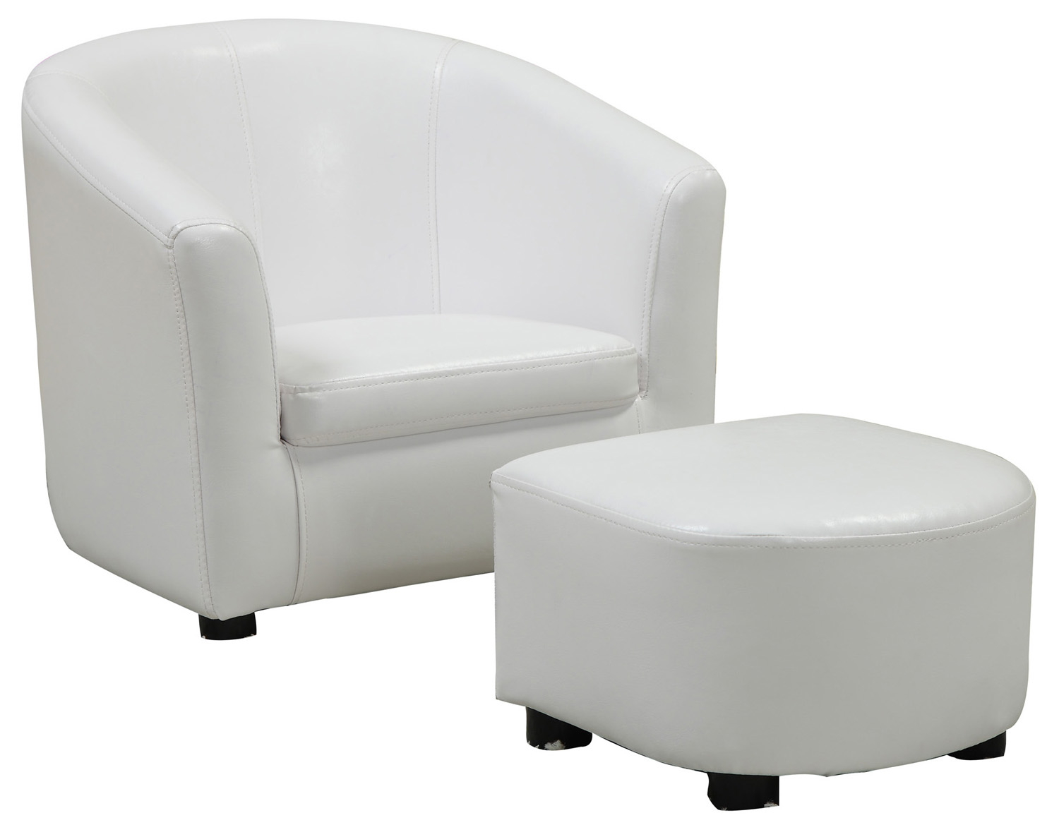 (Open Box) Juvenile Chair - 2 Pieces Set / White Leather-Look Fabric