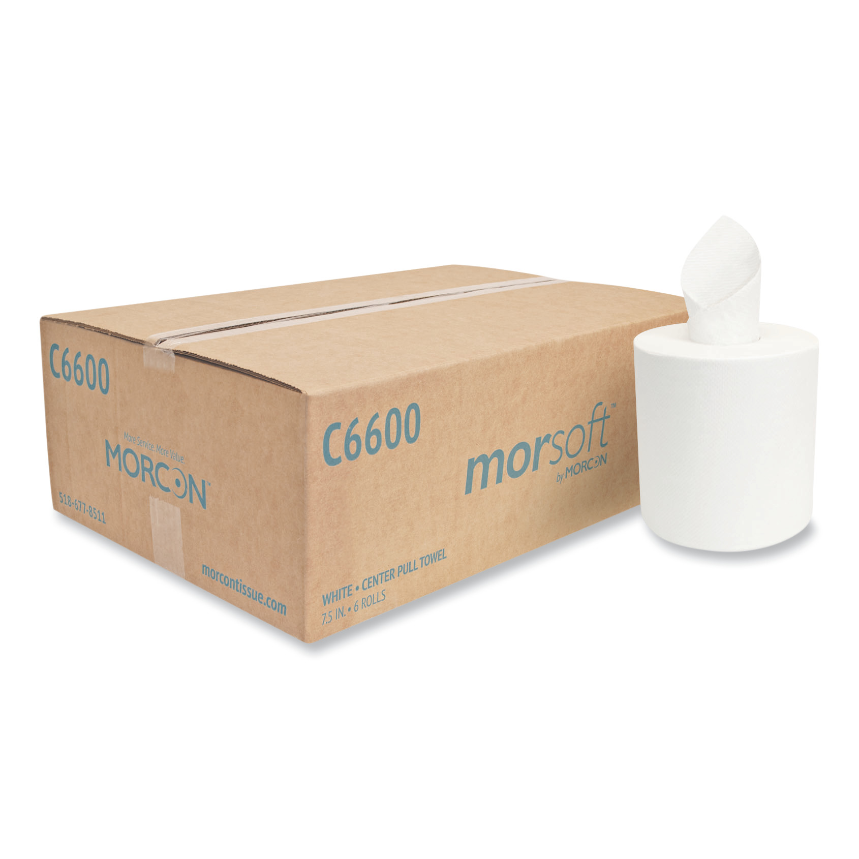 "Center-Pull Roll Towels, 7 1/2 dia., 12"" x 600 ft, White, 6 Rolls/Carton"